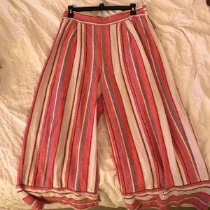 Linen blend stripped culottes. Size L